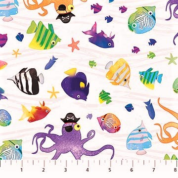 Northcott Shiver Me Whiskers 23026 10 White/Multi Pirate Octopi By The Yard