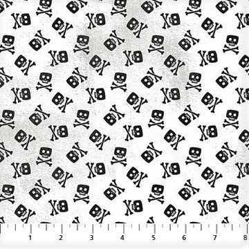 Northcott Shiver Me Whiskers 23029 10 White Skull & Crossbones By The Yard