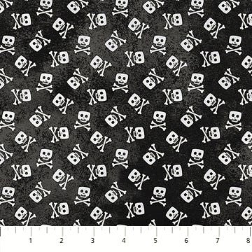 Northcott Shiver Me Whiskers 23029 99 Black Skull & Crossbones By The Yard