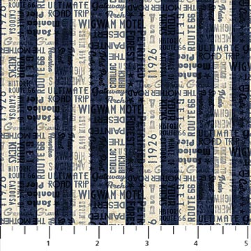 Northcott Route 66 - 23121 49 Navy Cream Plain Stripe By The Yard