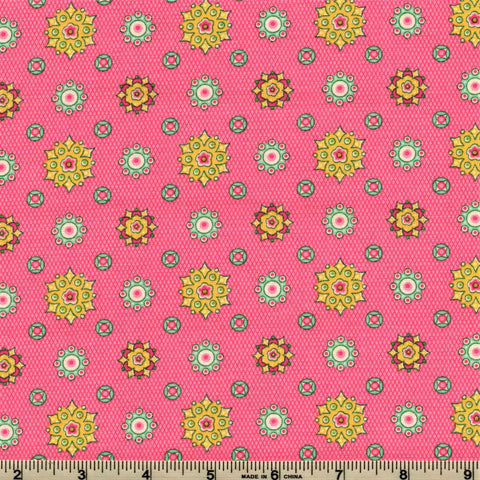 RJR Fabrics Prairie Yard Goods 2313 3 Jeweled Medallions On Neon Pink By The Yard