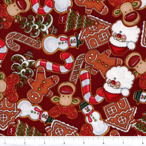 RJR Holly Jolly 2323 1 Gingerbread Scene On Red By The Yard