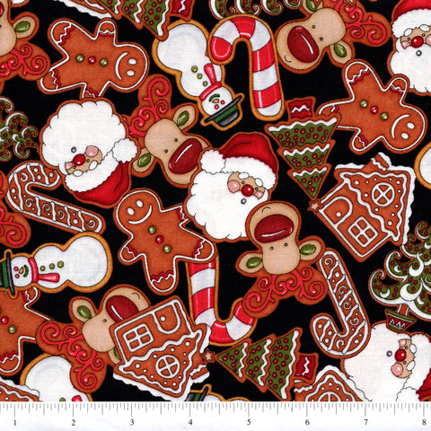RJR Holly Jolly 2323 3 Gingerbread Scene On Black By The Yard