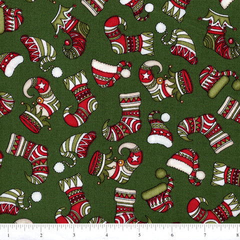 RJR Holly Jolly 2324 2 Stockings On Green By The Yard