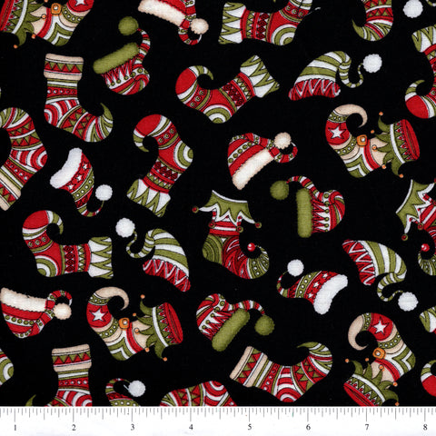 RJR Holly Jolly 2324 3 Stockings On Black By The Yard