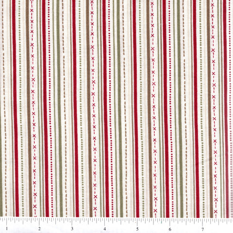 RJR Winter Village 2334 1 Multi Stripes & Designs On White By The Yard