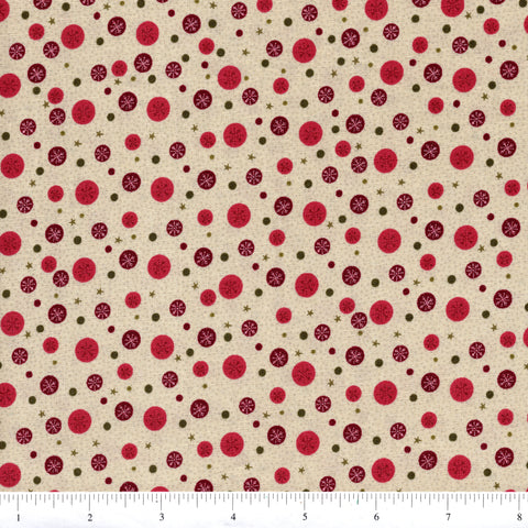 RJR Winter Village 2336 1 Stars & Circles On Beige By The Yard