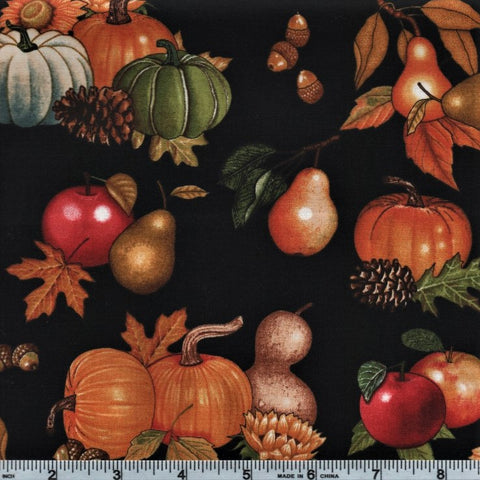 RJR Shades Of Autumn 2345 3 Pumpkins On Black By The Yard