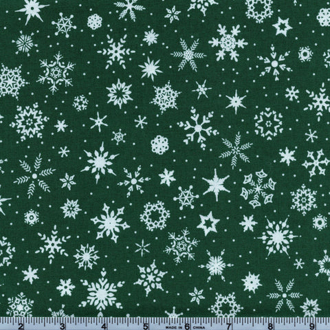 RJR Fabrics White Christmas 2351 2 Snowflake Dreams on Evergreen By The Yard
