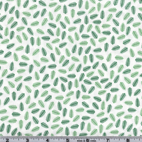 RJR Fabrics White Christmas 2352 2 Pine Needles On White By The Yard