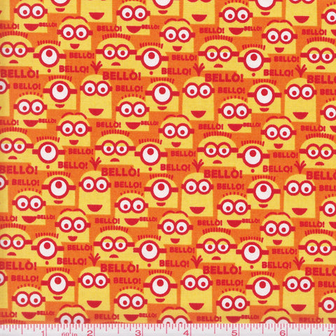 Quilting Treasures 1 In A Minion 23994 O Orange Mini Minion Collage by the yard