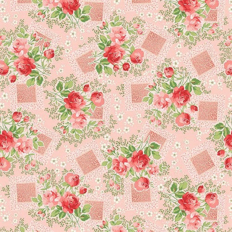 Henry Glass & Co. Violet's Garden 2405 22 Tearose Floral By The Yard