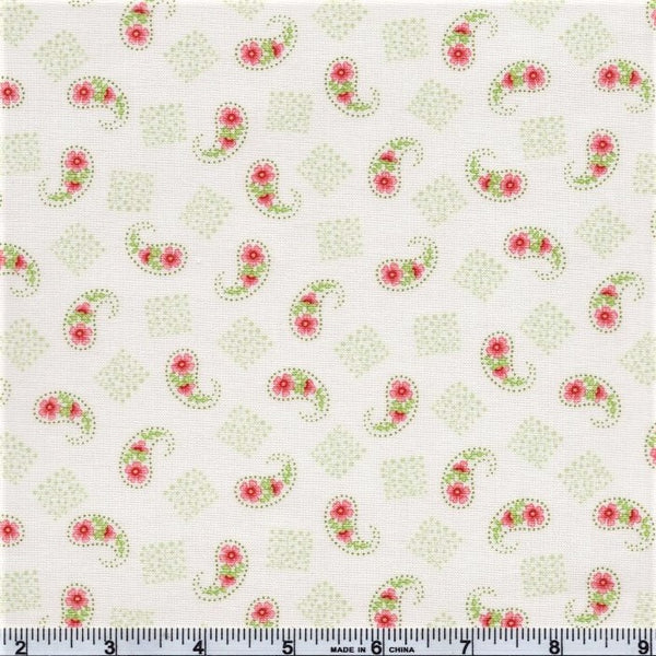 Henry Glass & Co. Violet's Garden 2406 33 Cream Paisley By The Yard