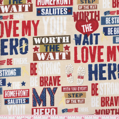 Quilting Treasures Be Strong, Be Brave 24081 E My Hero on Tan by the yard