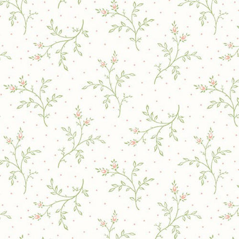 Henry Glass & Co. Violet's Garden 2411 36 Cream Sage Tossed Spring By The Yard