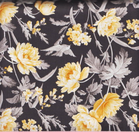 Quilting Treasures Hideaway 24230 K Black with Yellow Flowers by the yard