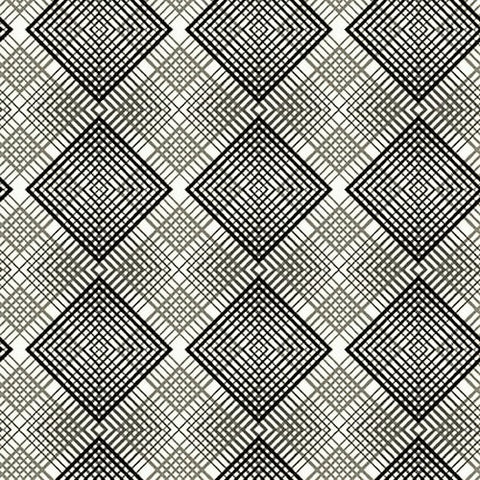 Henry Glass & Co. Black, White & Red Hot 2445 1 White Geo Plaid By The Yard
