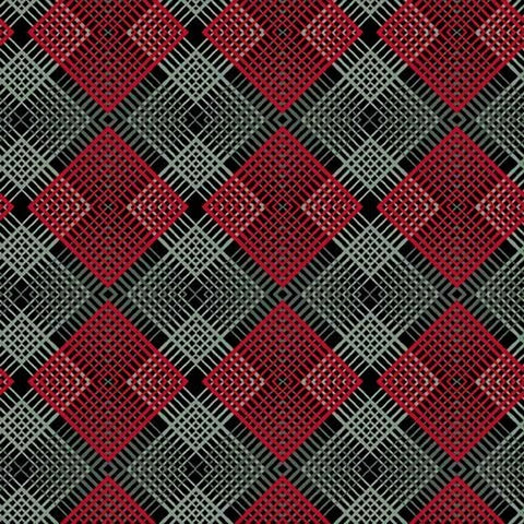 Henry Glass & Co. Black, White & Red Hot 2445 99 Black Geo Plaid By The Yard