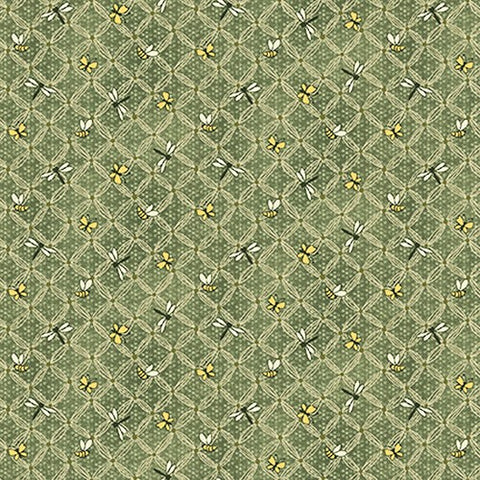 Henry Glass & Co. Best Of Days 2451 66 Green Flower Lattice By The Yard