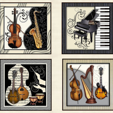 "RJR Fabrics 23"" PANEL 2454 1 Musical Instruments On Ivory By The Panel"