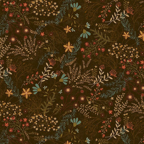 Henry Glass & Co. Best Of Days 2457 38 Brown Allover Flower By The Yard
