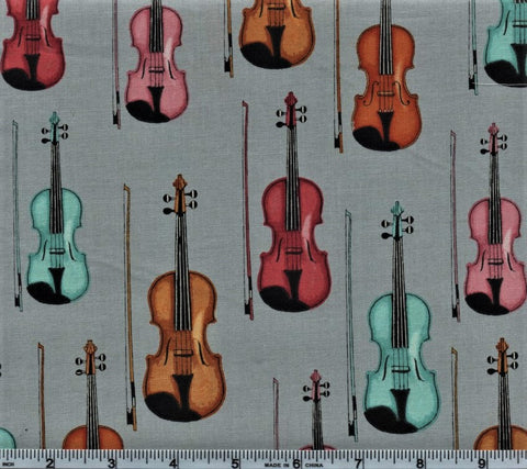 RJR Fabrics Perfect Pitch 2457 3 Violins On Grey By The Yard