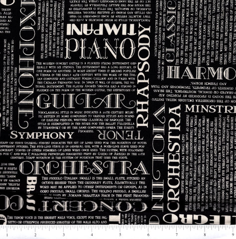 RJR Fabrics Perfect Pitch 2458 3 White Musical Words On Black By The Yard