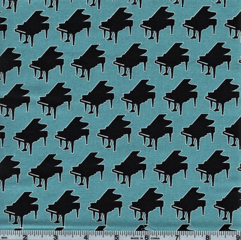 RJR Fabrics Perfect Pitch 2459 2 Pianos On Teal By The Yard