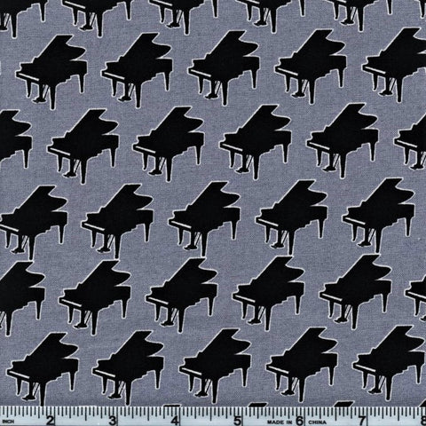 RJR Fabrics Perfect Pitch 2459 3 Pianos On Grey By The Yard