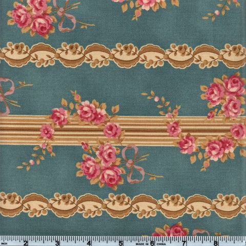 RJR Esprit Maison By Robyn Pandolph 2468 1 Blue Vintage Lined Flowers By The Yard