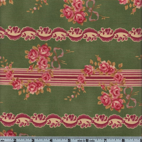 RJR Esprit Maison By Robyn Pandolph 2468 3 Green Vintage Lined Flowers By The Yard