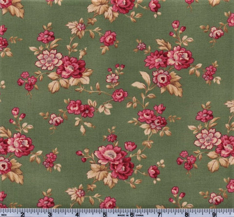 RJR Esprit Maison By Robyn Pandolph 2469 3 Green Vintage Flowers By The Yard