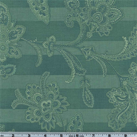 RJR Esprit Maison By Robyn Pandolph 2470 1 Teal Lined Flowers By The Yard