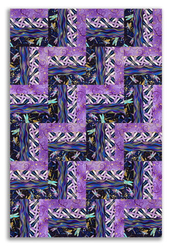Kanvas Metallic Pre-Cut 24 Block Rail Fence Quilt Kit - Dragonfly Dance Evening