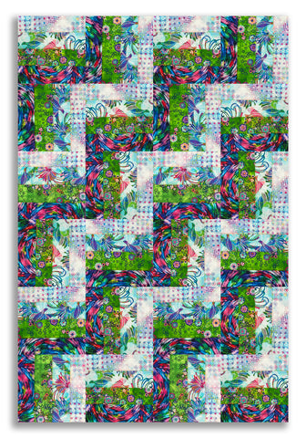 RJR Batiks Pre-cut 24 Block Rail Fence Quilt Kit - Starlight & Splendor
