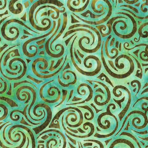 Anthology Bali Batiks 253Q 4 Teal Swirl By The Yard