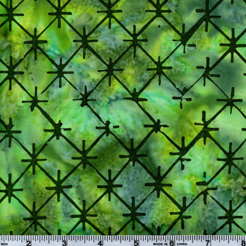 Hoffman Bali Batik 2625 157 Verde Abstract Stars On Green By The Yard