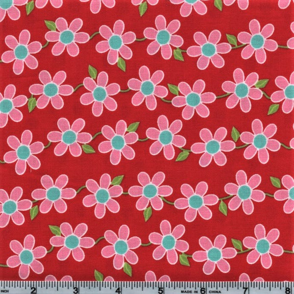 RJR BUGSY 2629 3 Pink Flower Grid On Red By The Yard
