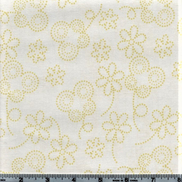 RJR BUGSY 2634 2 Yellow Dotted Flowers And Butterflies By The Yard