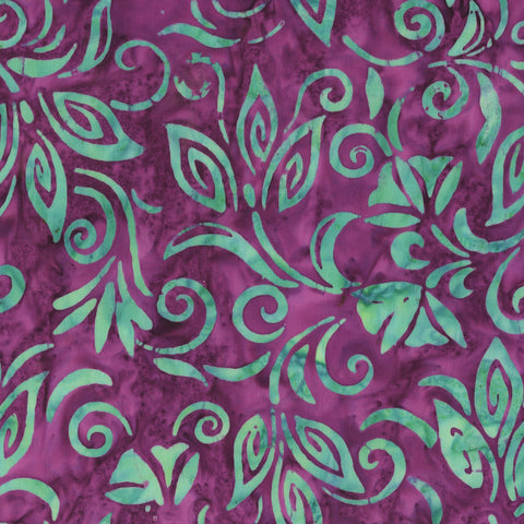 Anthology Bali Batiks 263Q 3 Violet Spaced Floral By The Yard