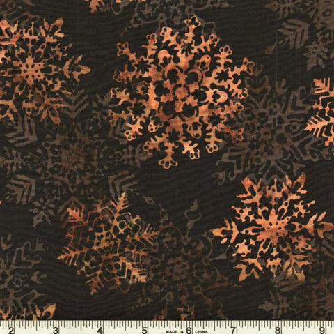 Hoffman Batik Mountain Meadow 2661 A4 Antique/Black Large Stylized Snowflakes By The Yard