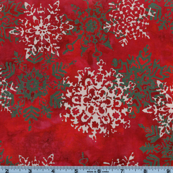 Hoffman Bali Batik 2661 161 Snowflakes on Christmas Red By The Yard