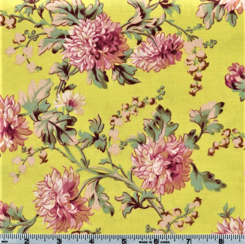RJR Marseille By Robyn Pandolph 2668 3 Peonies On Lime By The Yard