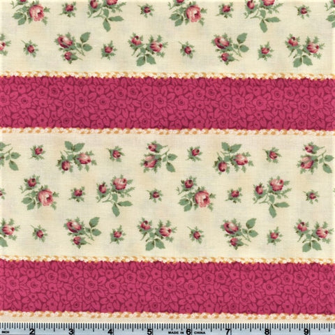 RJR Marseille By Robyn Pandolph 2670 1 Pink Stripes And Mini Roses By The Yard