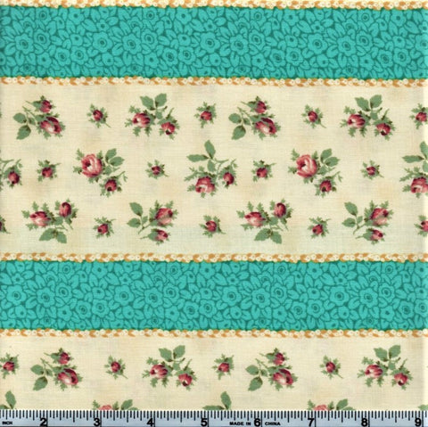 RJR Marseille By Robyn Pandolph 2670 2 Blue Stripes And Mini Roses By The Yard