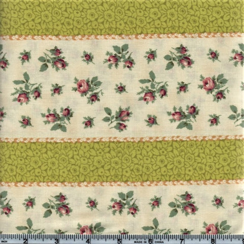 RJR Marseille By Robyn Pandolph 2670 3 Lime Stripes And Mini Roses By The Yard