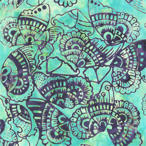 Anthology Bali Batiks 269Q 4 Turquoise Tribal Butterflies By The Yard