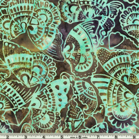 Anthology Bali Batiks 269Q 5 Aqua Tribal Butterflies By The Yard