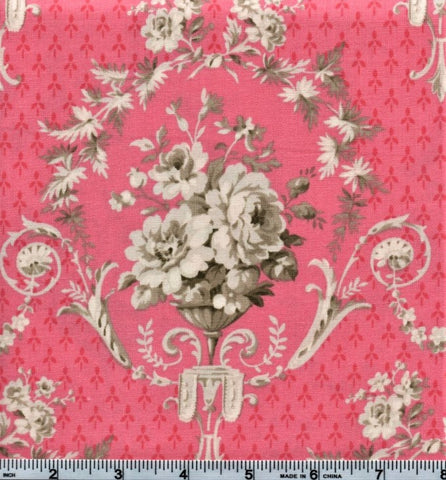 RJR Jardin Gris By Robyn Pandolph 2729 3 Pink Flower Bouquet By The Yard
