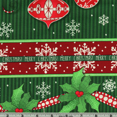 RJR Fabrics Christmas Wishes 2734 1 Merry Christmas Red & Green By The Yard